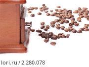 Кофемолка и кофейные зерна на белом фоне. Стоковое фото, фотограф Андрей Алпатов / Фотобанк Лори