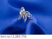 Купить «Золотое кольцо с сапфиром  на синем шелке», фото № 2283710, снято 11 декабря 2010 г. (c) ElenArt / Фотобанк Лори