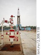 Купить «Скважина для добычи нефти и газа на фоне буровой установки», фото № 2308118, снято 19 августа 2010 г. (c) Rumo / Фотобанк Лори