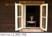 Деревенский дом. Букет в окне. Стоковое фото, фотограф Константин Сапронов / Фотобанк Лори