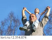 Купить «Мужчина с ребенком на фоне синего неба с березами», фото № 2314874, снято 20 октября 2018 г. (c) Losevsky Pavel / Фотобанк Лори