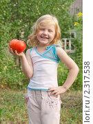 Купить «Девочка с большим помидором», фото № 2317538, снято 7 августа 2010 г. (c) Майя Крученкова / Фотобанк Лори