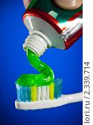 Зубная паста на зубной щетке. Стоковое фото, фотограф Андрей Армягов / Фотобанк Лори