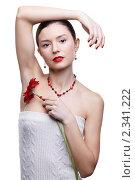 Купить «Девушка с цветком герберы», фото № 2341222, снято 17 декабря 2010 г. (c) Serg Zastavkin / Фотобанк Лори