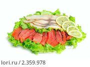 Купить «Рыбные деликатесы - форель и масляная в нарезке», фото № 2359978, снято 20 февраля 2011 г. (c) Татьяна Белова / Фотобанк Лори
