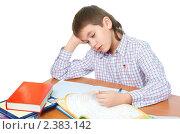 Купить «Мальчик скучает за уроками», фото № 2383142, снято 7 февраля 2009 г. (c) Ольга Красавина / Фотобанк Лори