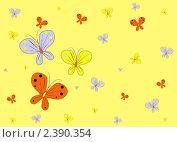 Желтый фон с бабочками. Стоковая иллюстрация, иллюстратор Галина Томина / Фотобанк Лори