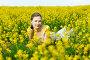 Молодая женщина в поле желтых цветов, фото № 2392678, снято 15 мая 2010 г. (c) Podvysotskiy Roman / Фотобанк Лори