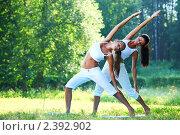 Две девушки занимаются йогой на природе. Стоковое фото, фотограф Иван Михайлов / Фотобанк Лори