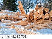 Купить «Брёвна для строительства дома набросанные на снегу», эксклюзивное фото № 2393762, снято 8 марта 2011 г. (c) Игорь Низов / Фотобанк Лори