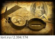 Купить «Ретрооткрытка с компасом, сундуком и деньгами», иллюстрация № 2394174 (c) ElenArt / Фотобанк Лори