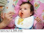 Кормление малышки морковным пюре (2011 год). Редакционное фото, фотограф Андрей Кириллов / Фотобанк Лори