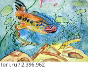 Подводный мир реки. Детский рисунок гуашью. Стоковое фото, фотограф Титова Елена / Фотобанк Лори