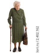 Купить «Пожилая женщина на белом фоне», фото № 2402162, снято 3 марта 2011 г. (c) Воронин Владимир Сергеевич / Фотобанк Лори