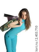 Девушка с покупками. Стоковое фото, фотограф Черников Роман / Фотобанк Лори