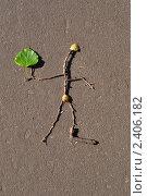 Маленький человечек с зеленым листком на асфальте. Стоковое фото, фотограф Анна Кузнецова / Фотобанк Лори