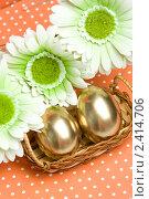 Купить «Пасхальные золотые яйца», фото № 2414706, снято 4 апреля 2020 г. (c) Allika / Фотобанк Лори