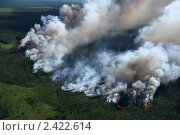 Купить «Лесной пожар с высоты полета», фото № 2422614, снято 12 июля 2007 г. (c) Владимир Мельников / Фотобанк Лори