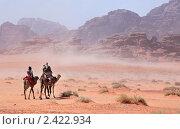 Караван из верблюдов и людей идет сквозь песчаную бурю в пустыне, Вади Рам, Иордания (2011 год). Стоковое фото, фотограф Николай Винокуров / Фотобанк Лори