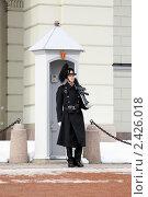 Купить «Норвежский королевский гвардеец на посту около королевского дворца в Осло», фото № 2426018, снято 7 марта 2011 г. (c) Михаил Марковский / Фотобанк Лори