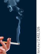 Купить «Зажженная сигарета в женской руке», фото № 2432326, снято 26 мая 2019 г. (c) AlphaBravo / Фотобанк Лори