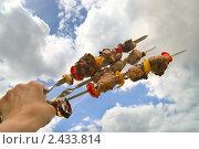 Купить «Три шампура с шашлыком на фоне неба с облаками», фото № 2433814, снято 30 мая 2010 г. (c) Светлана Кузнецова / Фотобанк Лори