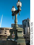 Купить «Фонарь на мосту Принсес-бридж в Мельбурне», фото № 2434106, снято 2 августа 2010 г. (c) Elena Monakhova / Фотобанк Лори