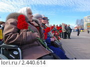 Пожилая женщина - ветеран ВОВ в инвалидной коляске с цветами наблюдает за парадом.  5 мая 2010 года Ханты-Мансийск. Редакционное фото, фотограф Александр Овчаров / Фотобанк Лори
