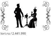 Купить «Силуэты мужчины и дамы в стиле XIX века», иллюстрация № 2441990 (c) Любовь Назарова / Фотобанк Лори