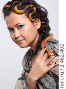Девушка со змеей на голове. Стоковое фото, фотограф Serg Zastavkin / Фотобанк Лори