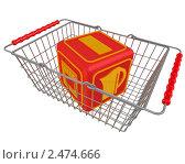 Купить «Куб с символами бытовой техники в корзине», иллюстрация № 2474666 (c) WalDeMarus / Фотобанк Лори