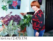 Купить «Женщина ухаживает за цветами на балконе», эксклюзивное фото № 2479174, снято 17 апреля 2011 г. (c) Анна Мартынова / Фотобанк Лори