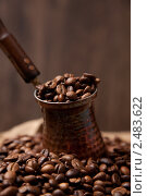 Купить «Кофейные зерна в турке», фото № 2483622, снято 16 марта 2011 г. (c) Юлий Шик / Фотобанк Лори