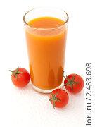 Купить «Овощной сок в стакане с помидорами черри на белом фоне», фото № 2483698, снято 6 апреля 2011 г. (c) Светлана Зарецкая / Фотобанк Лори