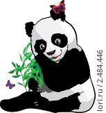 Купить «Молодая панда с бабочкой», иллюстрация № 2484446 (c) Зданчук Светлана / Фотобанк Лори