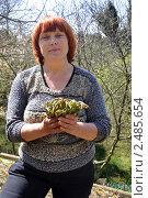 Купить «Женщина собирает побеги съедобного папоротника весной», эксклюзивное фото № 2485654, снято 19 апреля 2011 г. (c) Анна Мартынова / Фотобанк Лори
