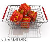 Купить «Кубики с символами бытовой техники в корзине», иллюстрация № 2489666 (c) WalDeMarus / Фотобанк Лори