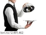 Купить «Официант с пустым блюдом», фото № 2491462, снято 17 сентября 2018 г. (c) Дмитрий Калиновский / Фотобанк Лори