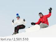 Купить «Два сноубордиста», фото № 2501510, снято 22 октября 2018 г. (c) Дмитрий Калиновский / Фотобанк Лори