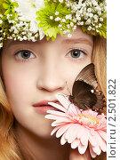 Купить «Красивая девушка с бабочкой», фото № 2501822, снято 30 марта 2011 г. (c) Serg Zastavkin / Фотобанк Лори