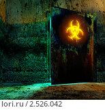 Купить «Знак опасности на старой металлической двери, 3D», иллюстрация № 2526042 (c) Сахно Роман Викторович / Фотобанк Лори
