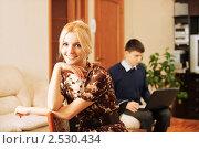 Купить «Девушка  и мужчина с ноутбуком на заднем плане», фото № 2530434, снято 8 февраля 2009 г. (c) BestPhotoStudio / Фотобанк Лори