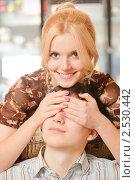 Купить «Девушка закрывает глаза своему парню», фото № 2530442, снято 8 февраля 2009 г. (c) BestPhotoStudio / Фотобанк Лори
