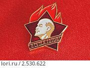 Купить «Пионерский значок на красном фоне», фото № 2530622, снято 23 февраля 2011 г. (c) Андрей Петраковский / Фотобанк Лори
