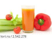 Купить «Стакан овощного сока и свежие овощи на белом фоне», фото № 2542278, снято 6 апреля 2011 г. (c) Светлана Зарецкая / Фотобанк Лори