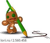 Тряпичная кукла с карандашом. Стоковая иллюстрация, иллюстратор Николаев Олег / Фотобанк Лори