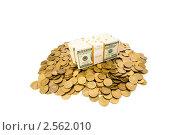 Купить «Пачки долларов и монеты на белом фоне», фото № 2562010, снято 25 апреля 2009 г. (c) Elnur / Фотобанк Лори