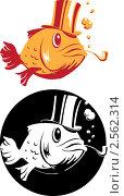 Курящая рыба в цилиндре. Стоковая иллюстрация, иллюстратор Карлов Сергей / Фотобанк Лори