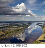 Купить «Большая река, желтые берега, белые облака», фото № 2569802, снято 30 мая 2011 г. (c) Владимир Мельников / Фотобанк Лори