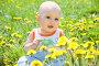Маленький ребёнок сидит в одуванчиках, фото № 2569930, снято 29 мая 2011 г. (c) Типляшина Евгения / Фотобанк Лори